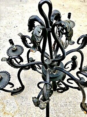 "Wrought Iron Chandelier Gothic Spanish Revival 6 light Gothic 36"" antique heavy"