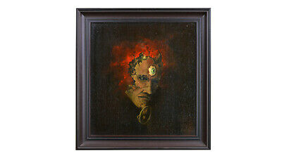 "REDUCED - Very Unique Oil Painting by Thomas Vavrik ""Demon Okultisma"" framed"