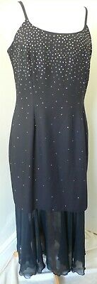 12-14 Black Vintage 1980s Sparkly Pencil Dress With Crepe Fishtail by C&A