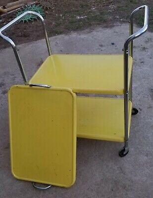 """(RARE) Mid Century SERVICE Stand Bar  Cart  Metal """"REMOVABLE SERVING TRAY)! NICE"""