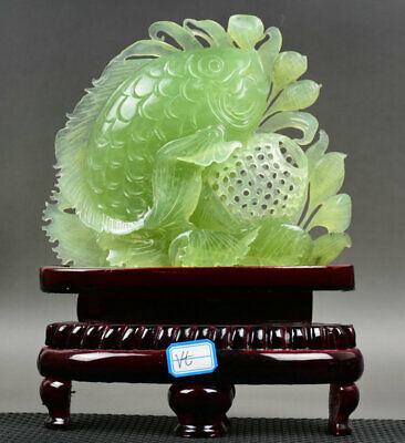 "10"" Chinese Natural Green Xiu Jade Jadeite Carved Wealth Year Fish Sculpture"
