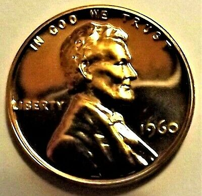 """1960-P PROOF Lincoln Memorial 1c GEM PROOF RED""""With P Mint Tag""""from Proof set"""