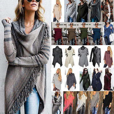 Womens Pullover Jumper Sweater Ladies Poncho Cape Tops Coat Cardigans Outwear AU