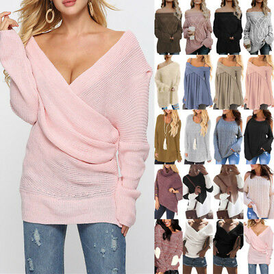 New Women Loose Long Sleeve Sweater Oversized Knitted Jumper Pullover Plus Size