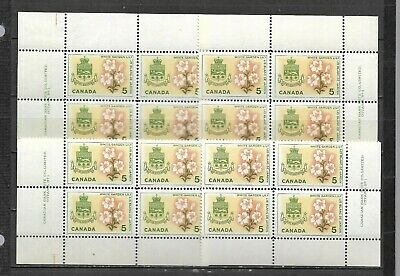 pk43863:Stamps-Canada #419 Coat of Arms Quebec 5 cent Plate 1 Block Set-MNH