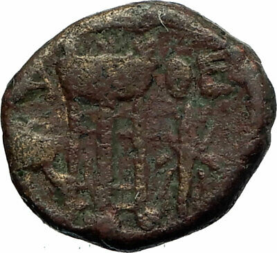 ATHENS Ancient Greece Authentic Ancient 42BC GREEK Coin w Athena Tripod i77125