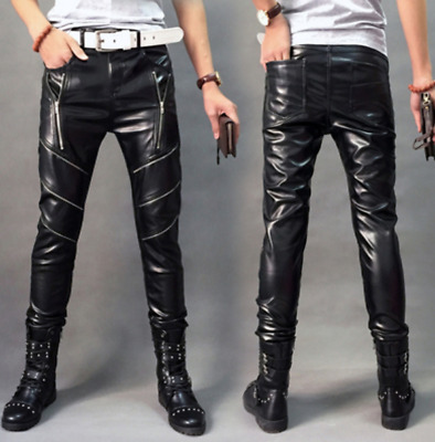 Mens Faux Leather Zip Pockets Long Straight Legs Trousers Motorcycle Pants A170
