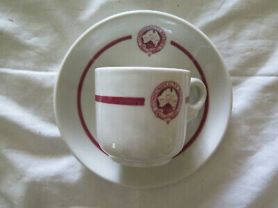 Commonwealth Railways Ceramic Coffee Cup & Saucer 1968 Loftus Moran Melbourne