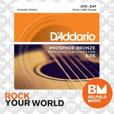D'Addario EJ15 Acoustic Guitar Strings Phosphor Bronze 10-47 Extra Light