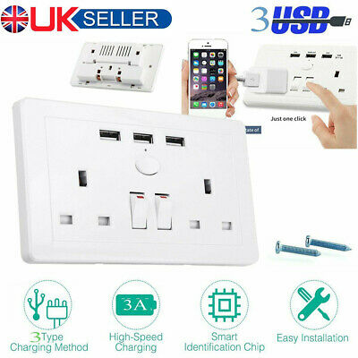 Double Wall 2 Gang Socket with 3 USB fast Charger Port Plug Switch Plate UK NEW