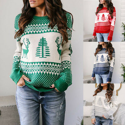 AU Women Long Sleeve Sweater Blouses Knitted Christmas Jumper Pullover Tops
