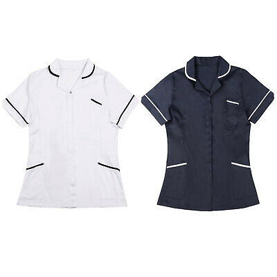 Women Tunic Nurses Uniform Salon Vet Beauty Healthcare Medical Dental Therapist