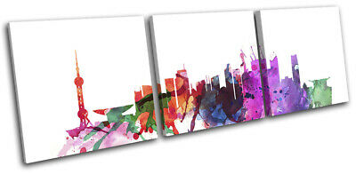 Shanghai Watercolour Style Abstract City TREBLE CANVAS WALL ART Picture Print