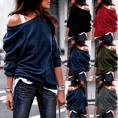 AU Women Off Shoulder Jumper Loose Slouch Tops Oversized Blouse Baggy Sweater