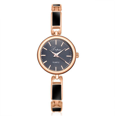 Stainless Band Steel Alloy Round Quartz Watch Simple Women's Bracelet