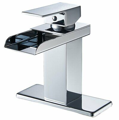 Commercial Chrome Waterfall Bathroom Sink Faucet Single Handle Lavatory Mixer