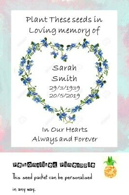 Funeral Seed Packet Forget Me Not Flowers Remembrance Favour White Personalised