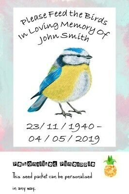 Funeral Bird Seed Packets Blue Tit Rememberance Memorial Favour Personalised