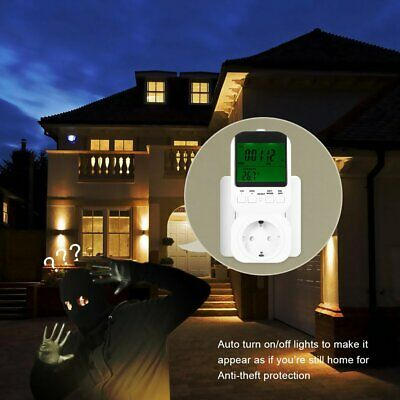 Multi-function LCD Display Thermostat Timer Switch Socket with Probe Clock TP