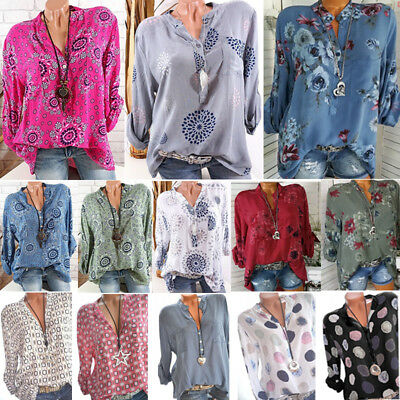 Women Plus Size V Neck Floral Print Blouses Summer Casual Long Sleeve Tops Shirt