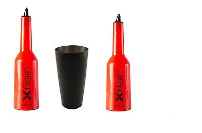 2 Flair Bottle Kit Red with Tin Boston 28oz Balanced Black