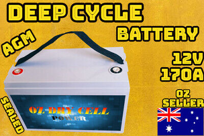 170AH AGM 12V DEEP CYCLE BATTERY BOAT TRAILER SEALED PORTABLE POWER DUAL Solar