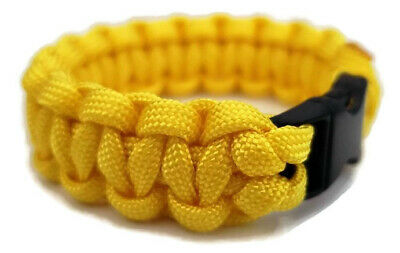 "Paracord Bracelet 550 Black Tactical 3/8"" Buckle (Yellow) Hand Made"