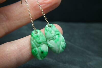 Stunning Antique Art Deco Carved Chinese Jade 9ct Gold Earrings