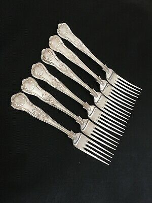 """6 Heavy Vintage Silver Plated Kings Pattern Dinner Table Forks  8"""" Sheffield A1"""