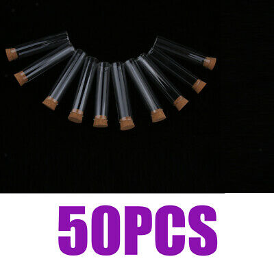 50PCS Glass Flat Bottom Test Tube 18x80mm with Cork Airlock for Spice Rack