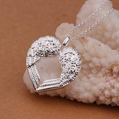 Elegant 925 Silver Angel Wing Necklace Love Heart Pendant Chain Jewelry Gift