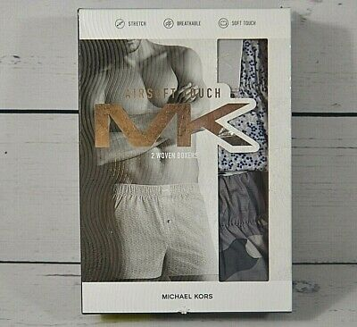 Nib Mens Michael Kors Airsoft Touch Woven Boxer Underwear 2 Pack Size Sm Md L Xl