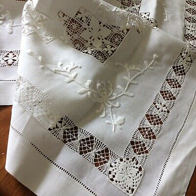 Antiques Linens & Textiles (pre-1930) Redwork Hand Embroidered Flying Geese Alsace Region France Tablecloth Tc5