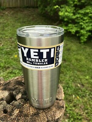 Yeti Rambler 20 Oz Stainless Steel Silver Tumbler Vacuum Insulated Cup w/LID