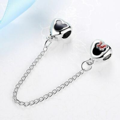 New Silver Plated Bead Charm Vintage Love Heart Lock Safety Chain