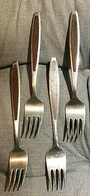 Mid Century Dessert Seafood Forks Wood Inlay Handle Stainless