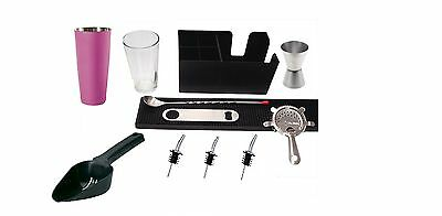 Equipment Bartender Bartender Shaker11 Pieces Kit Inox Kit Barman Boston Fuchsia
