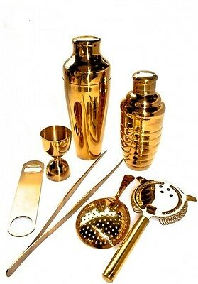 Kit Barman 7 Pieces Gold Colour Vintage Lumian Black01 Bartender
