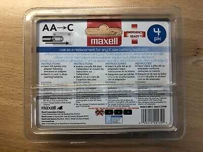 Maxell AA to C Battery Adapter (4 Pack)