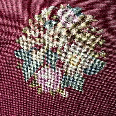 Antique Vtg rose Needlepoint chair seat tapestry maroon  VICTORIAN complete