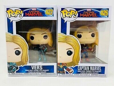 New Funko POP! Lot of 2 Captain Marvel #425 & Vers #427 Bobble-Head Vinyl Figure