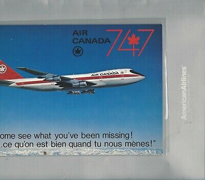 """Air Canada airlines   issued  Boeing 747 -6"""" x 8 1/2""""  postcard"""