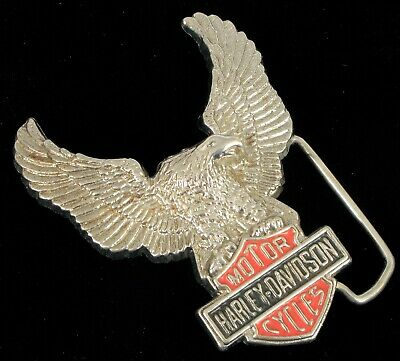 Vintage Chrome Harley Davidson Screaming Eagle Biker Belt Buckle Red Enamel !