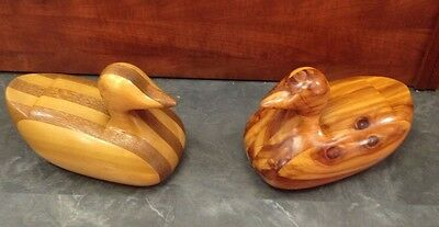 2 large unpainted decoy ducks