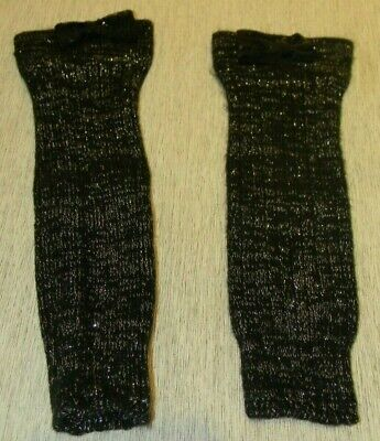 Girls Justice Black leg Warmers w/ Black bow- One Size