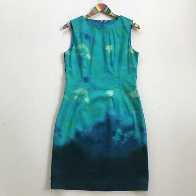 edd4b57235b7 Elie Tahari Size 10 Tie Dye Green Blue Combo Sheath Exposed Back Zipper  Dress