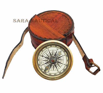 Antiques Nautical Brass Marco Polo Marine Compass Nautical Solid Brass W Leather Case