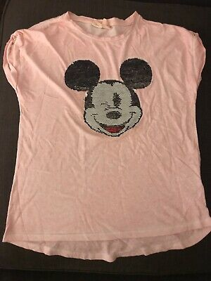 b0686cab Zara Girls Pink Reversible Silver Sequins Disney Mickey Mouse T-shirt Top