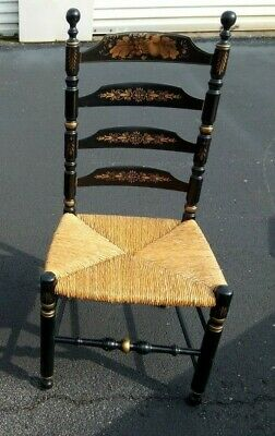 Ethan Allen Hitchcock Black Decorated Tall Ladderback Rush Seat Chair