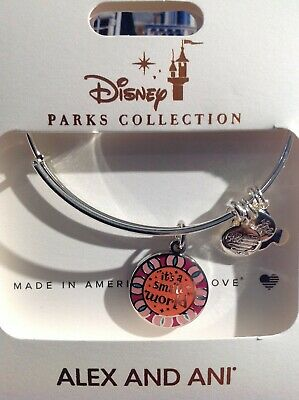 Disney Alex And Ani It's A Small World Silver Bracelet Two Sided Bangle NWT